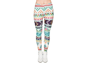Ladies motive Leggings Design Aztecs color white