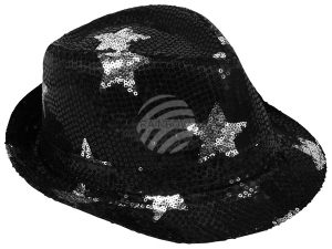 Trilby hat with stars black