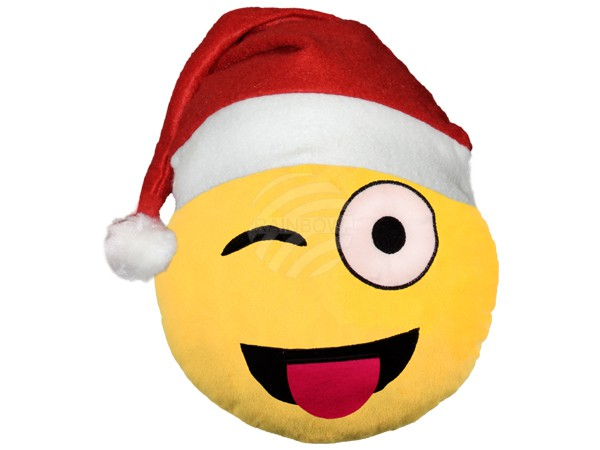 weihnachtsm tze emoticon emoji con kissen zwinker. Black Bedroom Furniture Sets. Home Design Ideas