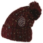 Knitted cap and colorful speckles with bobble red