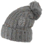 Knitted cap and colorful speckles with bobble light gray