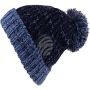 Knitted cap Long Beanie Slouch bobble dark blue, blue