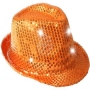 Trilby Hut LED mit Pailletten orange