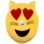 Cat Emoticon pillow in love yellow