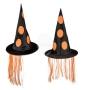 Witch hat with orange synthetic hair
