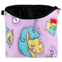 Cosmetic bag with motive Unicorn and symbols multicolor