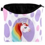 Cosmetic bag with motive Unicorn and Points purple/pink
