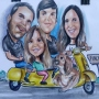 Your personal caricature printing on wood  50x65 cm